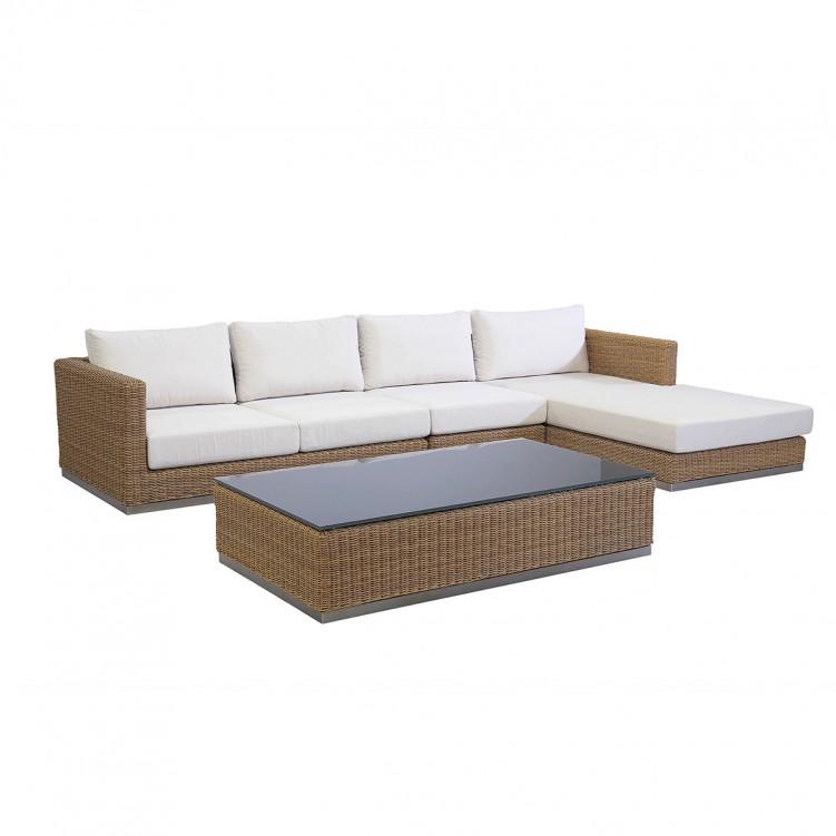 LESSO HOME Rattan Long Coffee Table with Glass
