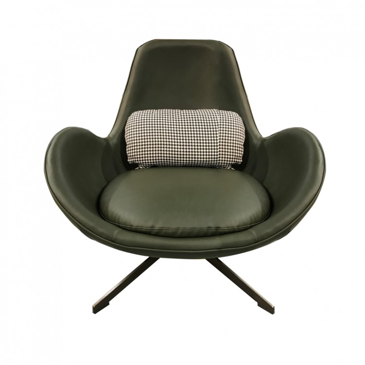 LESSO HOME Green Leather Leisure Lounge Chair