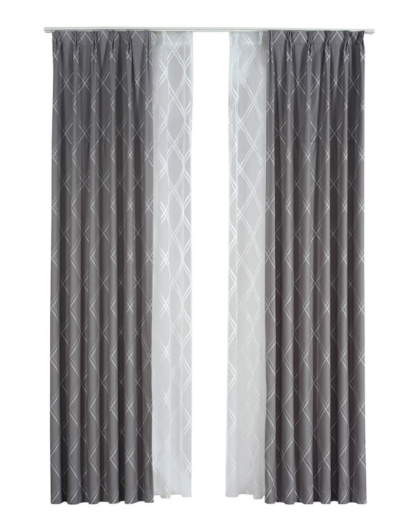 Industrial Style Gre Yarn-dyed Jacquard Process Curtains Set