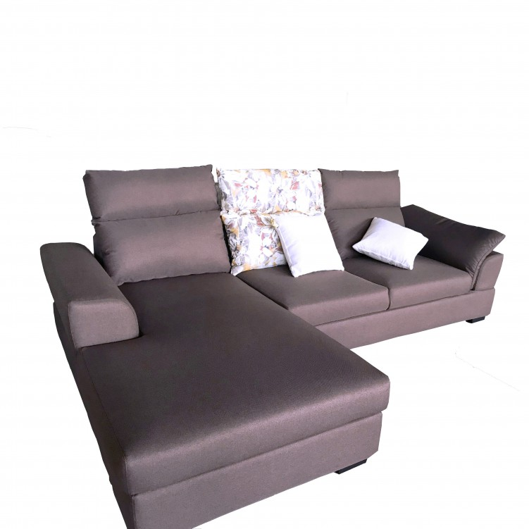 Upholstered 3 Seater Left Chaise Sleeper Sofa, Gray Fabric