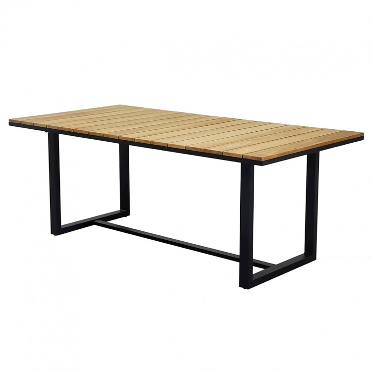 LESSO HOME Wood Long Dining Table with Black Frame