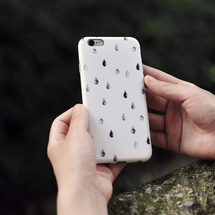 Mobile Case Set Box Gray Drops of Rain
