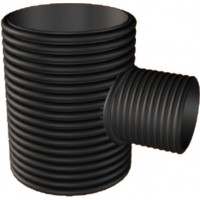 HDPE Double-Wall Corrugated Fabricated Reducing Tee Black