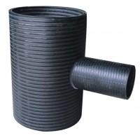 SN8 HDPE Spiral Enhanced Reducing Tee  Black