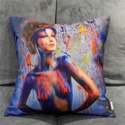 Printed & Brushed Cushion Graffiti