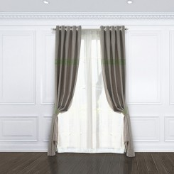 Grey & Green Stitched Embroidery Curtain