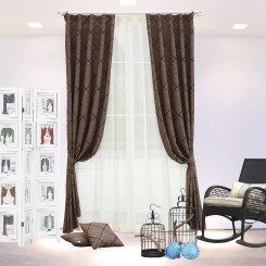 Brown Stitched Embroidery Curtain