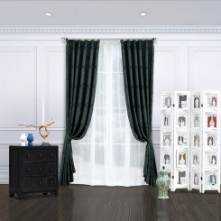 Dark Green Stitched Embroidery Curtain