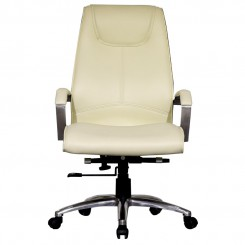 LESSO HOME Executive Chair, Beige Leather PU High Density Form
