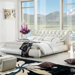 Button Back White Leather Platform Bed