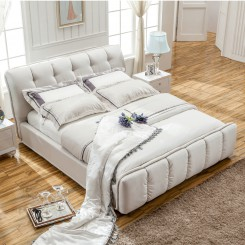White Fabric Platform Bed