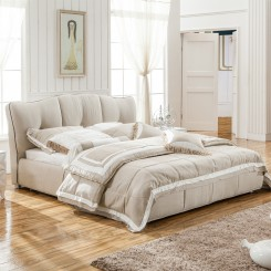 Beige Fabric Platform Bed