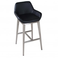 Black Leather Bar Height Low Back Bar Stool