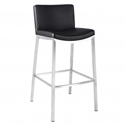 Black Leather Counter Height Low Back Bar Stool