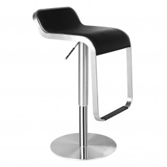 Black Leather Adjustable Counter Height Low Back Bar Stool