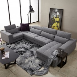 Modular Corner Sofa with Right Chaise, Grey Fabric
