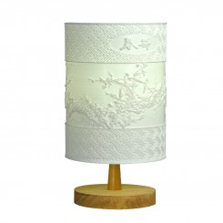 Relief Desk Lamp with Solid Wood Base White