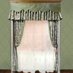 Pastoral Style Green Coating Printing Curtain Set