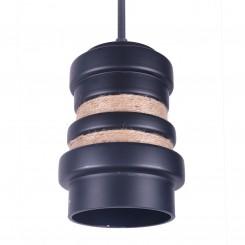 American Style Matt Black Iron Pendant Light with Hemp Rope