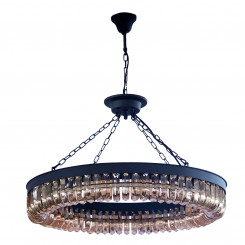 E12 Light Source & K9 Amber Crystal Satin Black Chandelier