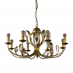 Metal Gold Pendant Light with Clear K9 Crystal
