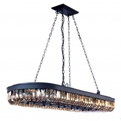 Satin Black E12 Pendant Lamp with Amber Crystal