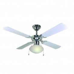 1.65mm Ceiling Fan With Light, Chrome With White Finish