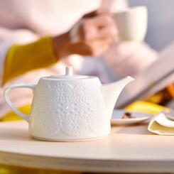 Teapot with Relief European Style 500CC White