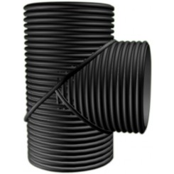 225mm SN8 HDPE Double-Wall Corrugated Fabricated Tee  Black