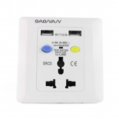 PRCD 3pin Wall Plate with USB Portable Residual Current Protector