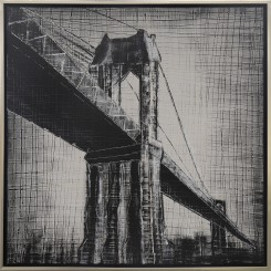 Industrial Style Bridge in the Rain Cloth Painting