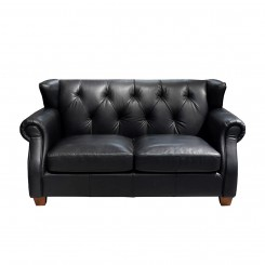 LESSO HOME 2 Seater Button Back Sleeper Sofa, Black Leather