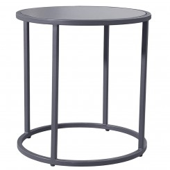 LESSO HOME Round Coffee Table, Gray Stainless Steel Frame