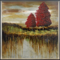 Red in the Autumn Tin Painting