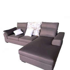 Upholstered 3 Seater Right Chaise Sleeper Sofa, Gray Fabric