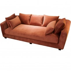 LESSO HOME Pink Fabric 3 Seater Sleeper Sofa