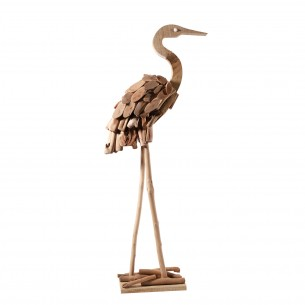 Wooden Red-crowned Crane on A Stand