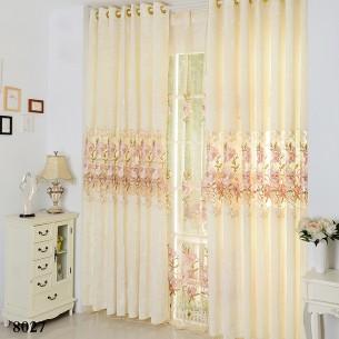 Simple Chinese Style Beige Ice Velvet Curtain
