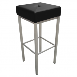 Black Leather Backless Short Bar Stool
