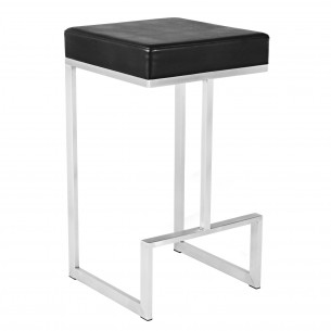 Black Leather Backless Short Bar Stool, U Shape Frame