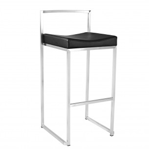 Stainless Steel Low Back Counter Height Bar Stool