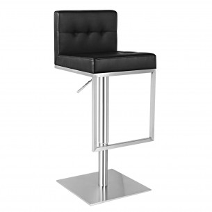 Black Leather Adjustable Bar Height Low Back Bar Stool
