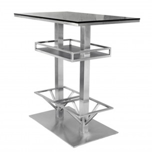 Rectangle Black Bar Table with Stainless Steel Frame