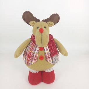 Weishideng Christmas Decorations Fabric Deer Doll Red&Gray FG01-10563D