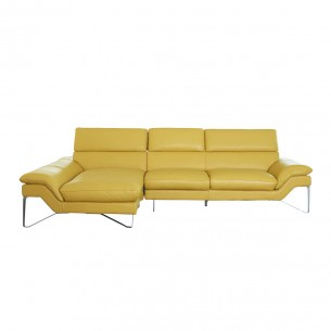 LESSO HOME Sectional Sofa with Left Chaise, Yellow Leather