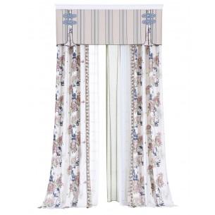Oriental Style Blue & White Digital Printing Curtains Set