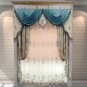 European Style Beige Jacquard Curtain Set