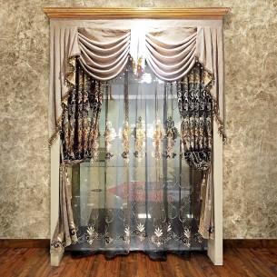 European Style Brown Chenille Curtain Set