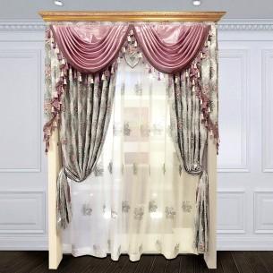 European Style Cyan Embossed Curtain