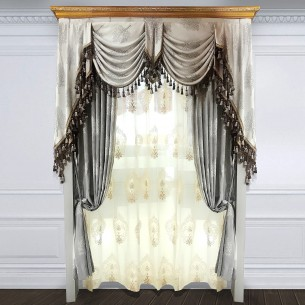 Simple European Style Grey Velvet Curtain Set